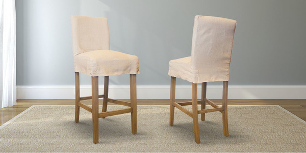 Parsons Bar Stool with Oatmeal Slip Cover
