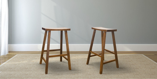 Counter height Saddle Stool stained Dark Walnut