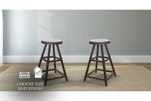 Industrial Steel and Wood Counter Stool with Dark Walnut stained seat