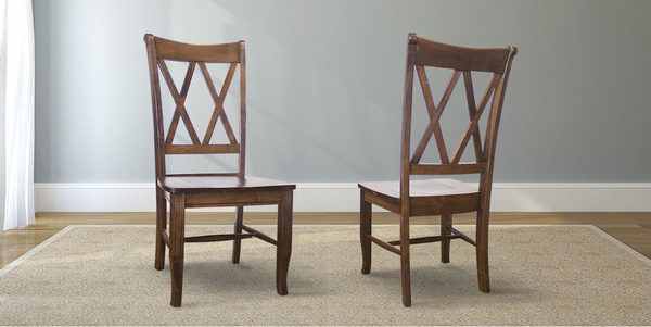 Double X-Back Wood Dining Chair stained Dark Walnut