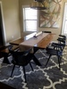 "6.5' L x 42"" W Steel X Base Table with a traditional top stained Early American with a black painted base, matching Steel X Base Bench, and Danish Black Oak Dining Chairs."