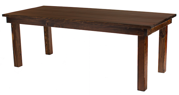 Please note that the table in the photo is an example of a Farmhouse Table. Every table is custom crafted, ensuring that each table features unique wood grain, knots, and distress marks.