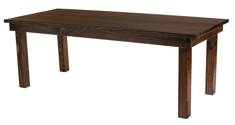 Please note that the table in the photo is an example of Farmhouse Table. Every table is custom crafted, ensuring that each table features unique wood grain, knots, and distress marks.