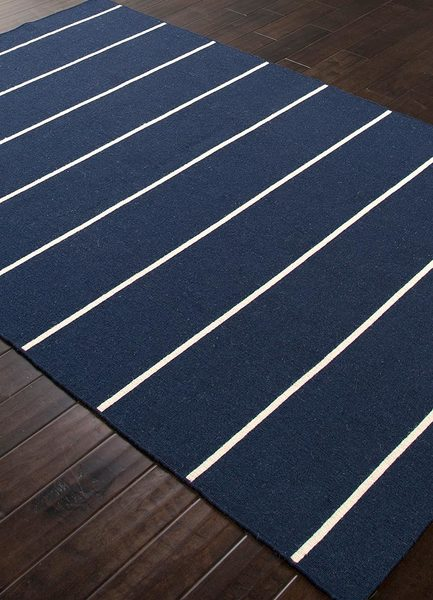 Navy Striped Flat Weave Rug