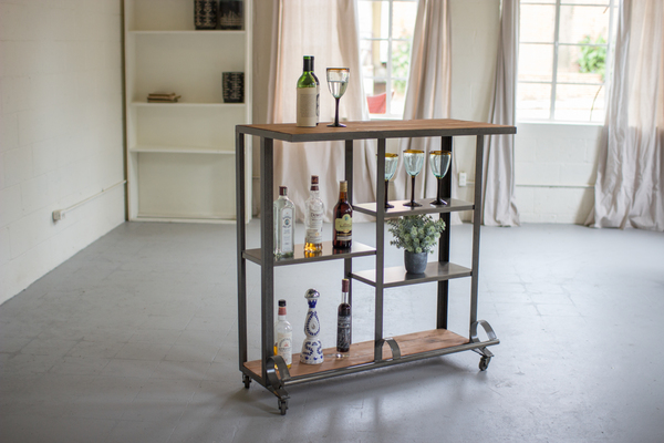 Honey Wood Bar Cart