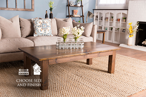 """60"""" L x 30"""" W 18"""" H Farmhouse Coffee Table in Dark Walnut Stain with a satin finish. Custom 1"""" thick top. Standard top is approx. 1.5"""" thick."""