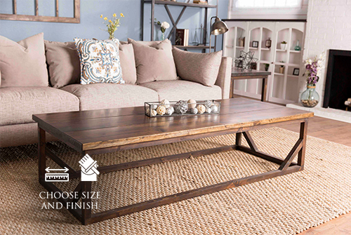 "72"" L x 30"" W x 18"" H Emmalyn Coffee Table in all Dark Walnut stain with a satin sheen."