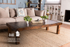 """72"""" x 30"""" x 18"""" H Pieced Top, Solid Wood Coffee Table in dark walnut stain with a satin sheen."""