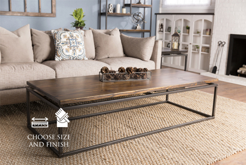 """72"""" x 30"""" x 18"""" H Floating Top Steel Base Coffee Table in Dark Walnut stain with a satin finish."""