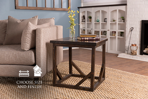 """24"""" x 24"""" x 24"""" H Emmalyn End Table in Dark Walnut stain with a satin finish."""