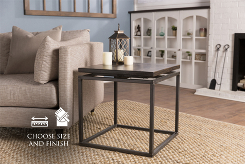 "24"" x 24"" x 24"" H Floating Top Steel Base End Table in Dark Walnut stain with a satin finish."