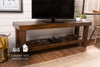 "65"" x 18"" x 24"" H Pieced Top Media Console in Dark Walnut stain. TV console features lower shelf."