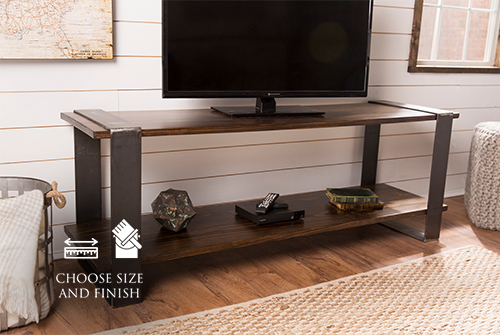 """65"""" x 18"""" x 24"""" H Modern Industrial Media Console in Dark Walnut stain. TV console features lower shelf. Custom 1"""" thick table top and lower shelf."""