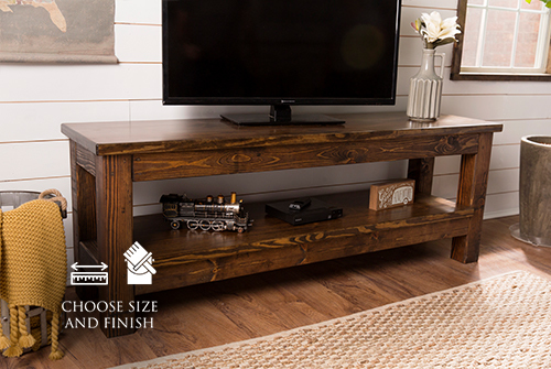 "65"" x 18"" x 24"" H Farmhouse Media Stand stained Dark Walnut with a satin sheen."
