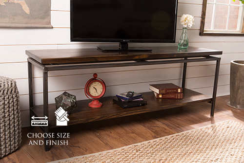 "65"" x 18"" x 24"" H Floating Top Steel Base Media Console with Dark Walnut stain and a satin finish."