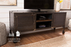 """65"""" x 18"""" x 29"""" H Factory Metal Media Console with Dark Walnut stained top and shelves with a satin sheen. Industrial steel and solid wood TV stand."""