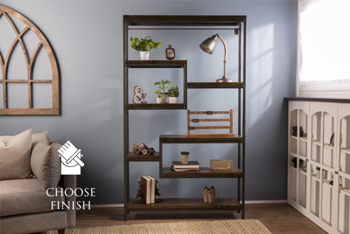 "48"" x 11.25"" x 82.5"" H Steel and Solid Wood Shelving unit with Dark Walnut stained shelves. Industrial, welded steel and solid wood construction."