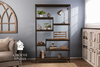 """48"""" x 11.25"""" x 82.5"""" H Steel and Solid Wood Shelving unit with Dark Walnut stained shelves. Industrial, welded steel and solid wood construction."""