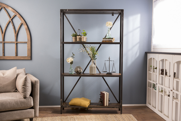 Factory Metal Bookshelf featuring four shelves in Dark Walnut stain. This shelving unit features industrial steel and rivet details.