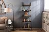 """21""""W x 4""""D x 78""""H Ladder Bookshelf in Vintage Dark Walnut Stain."""