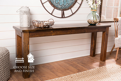 "72"" x 18"" x 30"" H Farmhouse Sofa Table in Dark Walnut Stain with a satin sheen."