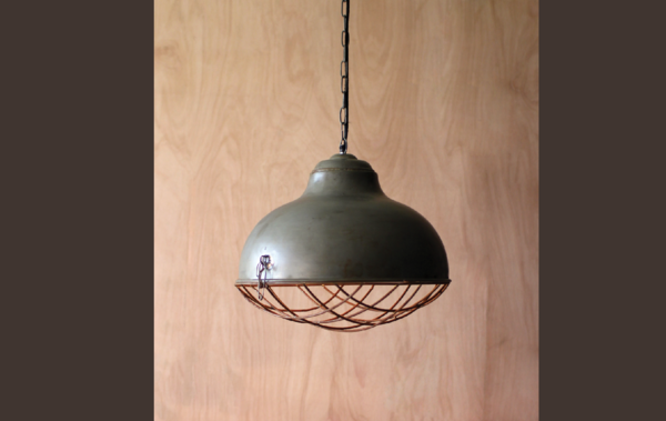 Raw Metal Bell Pendant Lamp with Rustic Cage
