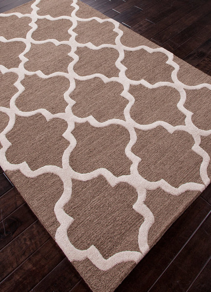 Hand-Tufted Mushroom & Antique White 100% Wool Rug