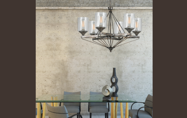 Metal and Seeded Glass Light Fixture