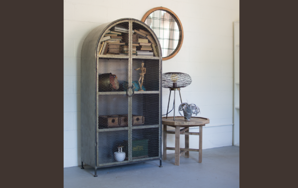 Arched Metal Cabinet with Two Wire Mesh Doors