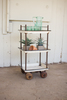 Rustic Metal and Wood Bar Cart with Wooden Casters