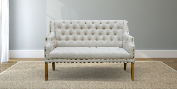 Oatmeal Linen Tufted Settee with Nailhead Trim