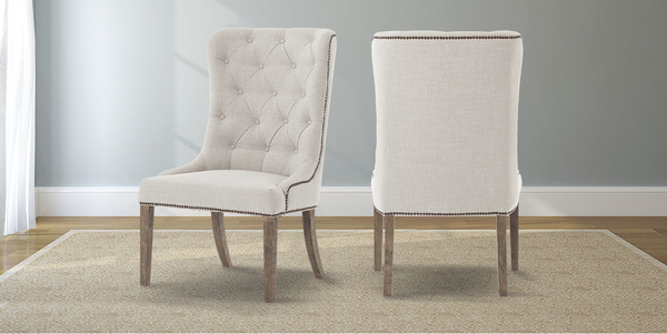 Natural Linen Elouise Dining Chair with Nailhead Trim