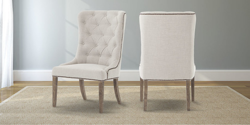 Outstanding Natural Linen Elouise Dining Chair With Nailhead Trim Bralicious Painted Fabric Chair Ideas Braliciousco
