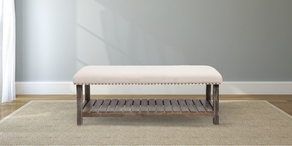 Upholstered Bedroom Bench with Nailhead Trim