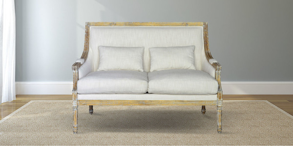 Carved Wood and White Linen Settee