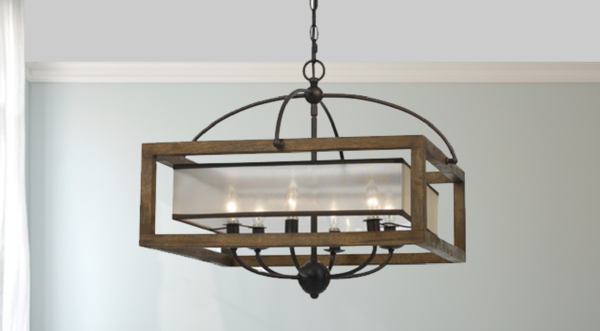 Square Mission Wood and Metal Chandelier