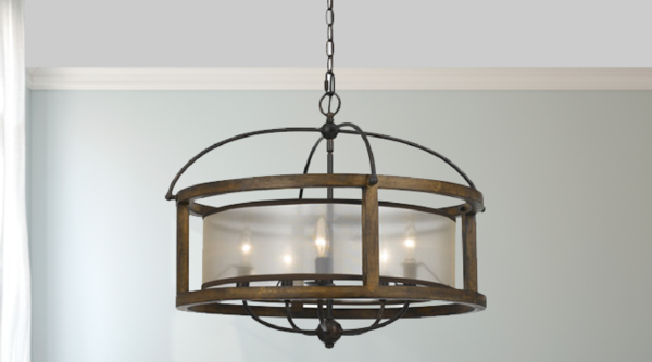 Round Mission Wood and Metal Pendant Chandelier