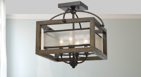 Mission Square Semi-Flush / Flush Mount Pendant Chandelier