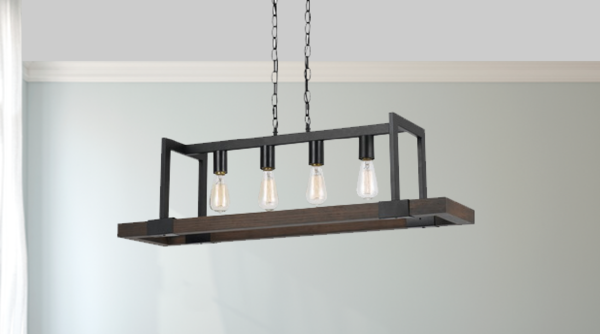 Mission Wood and Metal Rectangular Chandelier