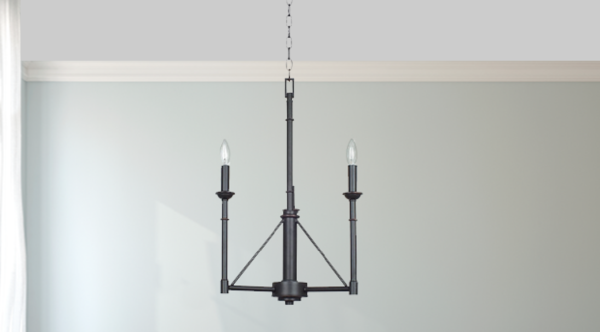 Forged Chandelier, 3 Bulb