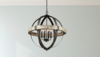 Iron & Wood 6 Light Round Chandelier