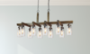 Wood & Glass 10 Light Chandelier