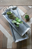 Zinc Trays with Brass Details, Set of 2. Pictured with Faux Succulents in White Ceramic Pots.