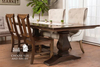 """7' x 45"""" Heirloom Pedestal Dining Table in Kona stain, traditional top with end caps. Pictured with Grace wood chairs and Eloise Upholstered Dining Chairs. Also featured: Our dove grey settee and our Castello 6 light black orb chandelier."""