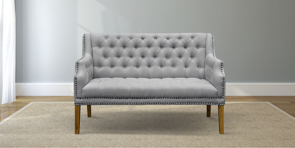 Dove Grey Linen Tufted Settee with Nailhead Trim.