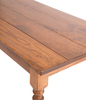 Country French Turned Leg Table with a traditional, boarded top in Early American stain with a satin finish.