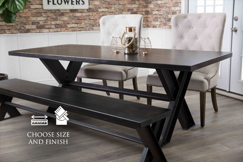 "7' x 37"" Industrial Steel X-Base Table in Charred Ember Finish. Pictured with our Eloise Chairs and Industrial Steel X-Base Dining Bench."