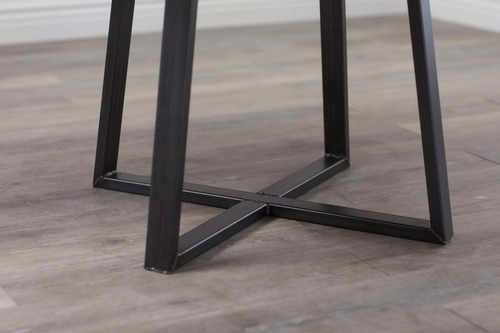Round Industrial Steel Pedestal Table James James