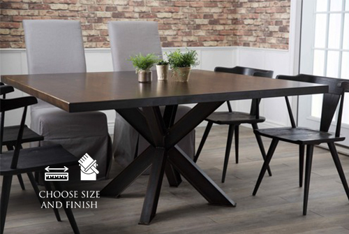 "60"" Square Shiloh Steel Industrial Welded Pedestal Table in Tobacco Finish. Pictured with our Parson Linen Chairs and Black Danish Oak Chairs."