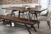 """7' x 37"""" Fulton Modern Industrial Dining Table in Tobacco Finish. Pictures with our Ashford Linen Chair, our Fulton Bench, and our Josiah side chair."""